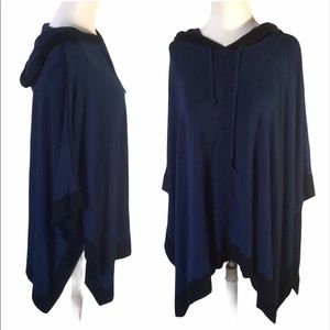 CAPOTE Navy Blue Soft Stretchy Bamboo Poncho